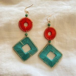 String art earrings - teal and coral statement